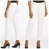 ANN TAYLOR Women's CURVY CROP PANTS Stretch Cotton White Sz 12 NEW $70