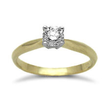 Round Yellow Gold Solitaire Fine Diamond Rings