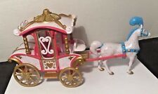 Polly Pocket Disney Princess Carriage and Horse Pink White Gold Horse with Blue