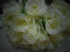 18 IVORY ARTIFICIAL ROSE STEM FAUX SILK FLOWER WEDDING/DECOR/BRIDAL/BOUQUE/table