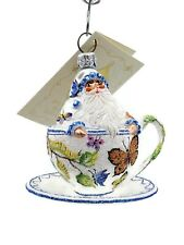 New ListingPatricia Breen Tea for Two Butterflies Holiday Tree Ornament Tea Party Cup Blue