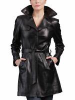 Women's Leather Trench Coat Genuine Lambskin Leather Jacket Long Overcoat WT004