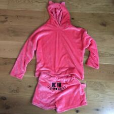 pink cat oversized fleecy slouchy winter hoodie and shorts outfit/set size 12