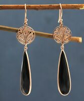 Black Onyx Gemstone Rose Gold Plated Earring Solid 925 Sterling Silver Jewelry