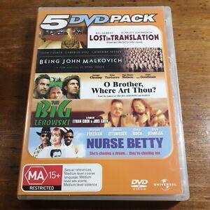 5 DVD Pack Lost in Translation John Malkovich O Brother Lebowski Nurse Betty R4