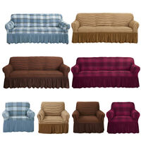 1/2/3/4 Seater Stretch Sofa Slipcover Couch 3D Bubble Lattice w Skirt Sofa Cover