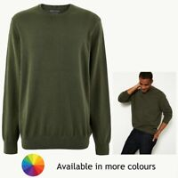 Mens M&S Collection Pure Cotton Crew Neck Jumper Sizes S - 3XL CURRENT LINE