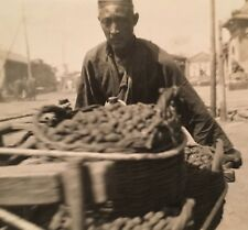 Real Photo Postcard RPPC ~ Peking CHINA ~ Man Pushing Cart ~ Street Vendor