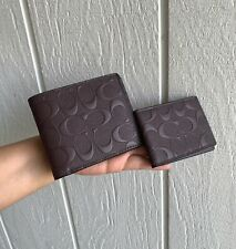 NWT Coach Signature Embossed Crossgrain Leather Compact ID Wallet  F75371 MAH