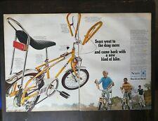 Vintage 1969 Sears Screamer Drag Racer Bike Bicycle Two Page Original Color Ad