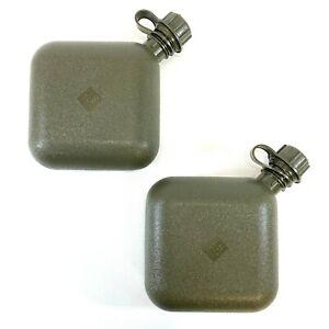 2 Military 2 Quart Canteens, OD Green USGI Collapsible 2 QT Canteen Water Bottle