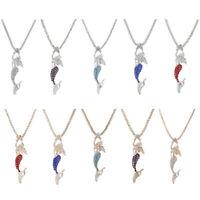 Betsey Johnson Enamel Crystal Mermaid Pendant Sweater Chain Necklace HOT