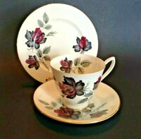 Royal Albert TeaCup Saucer And Plate - White With Black And Red Roses - England