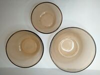 3 BROWN AMBER GLASS ANCHOR HOCKING OVENWARE MIXING NESTING BOWLS 1, 1.5, 2.5qt