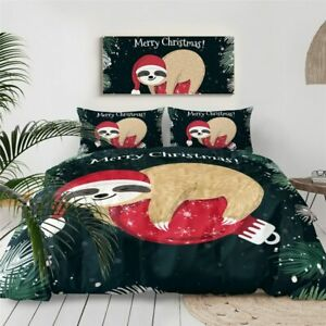 Christmas Bauble Sloth Animal King Queen Twin Quilt Duvet Pillow Cover Bed Set