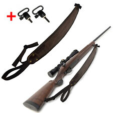 Hunting Vintage Canvas Leather Rifle Gun Sling with Swivels