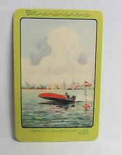 vintage OUTBOARD MOTOR BOAT Racing Playing Card blank back SWAPS hydroplane
