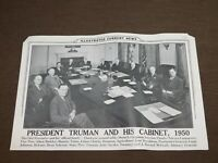 VINTAGE ILLUS CURRENT NEWS PRESIDENT TRUMAN & HIS CABINET 1950 PHOTO