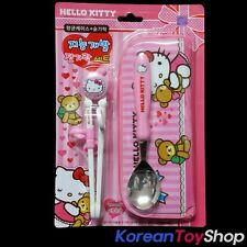 Hello Kitty Training Chopsticks Stainless Spoon Case Set Licensed Made in Korea