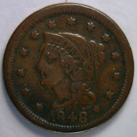 1848 Braided Hair Liberty Head Large Cent US Copper Type Coin F1