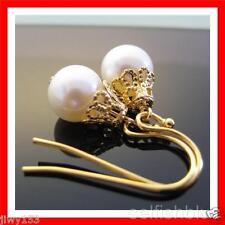 GOLD Plated White Freshwater AA Cute REAL Pearl Earrings Australia Seller 153