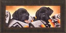BLACK LAB PUPS by Jerry Gadamus FRAMED PRINT~Labrador Retreiver Dog Puppy S/N