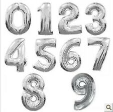 ♛ Shop8 : 1 pc NUMBER SILVER FOIL BALLOON Party Needs Gift Ideas