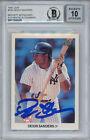 Deion Sanders Autographed/Signed 1990 Leaf Rookie Card BAS 10 Slab 33892