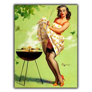 METAL SIGN WALL PLAQUE BBQ Garden PIN UP GIRL ELVGREN Retro Vintage style print