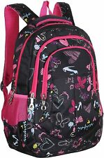 MGgear 19-Inch Hearts & Butterflies Print Girls' Student Backpack, Black