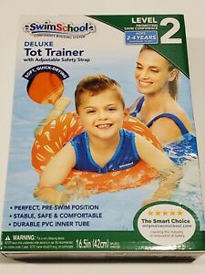 SwimSchool Deluxe TOT Swim Trainer Vest, Inflatable Swim Float, Level 2 Orange