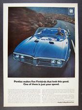 1967 Pontiac Firebird 400 Convertible blue car photo vintage print Ad