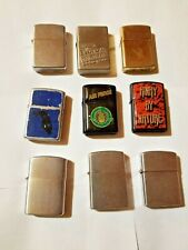 Lot of 9 Metal Fluid Lighters, All Spark Well, Working Condition