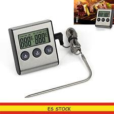 Termómetro digital de cocina Carne con sonda para Horno Temporizador y Alarma