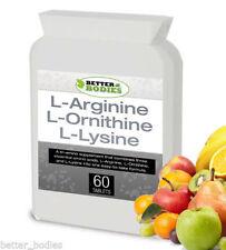 L-Arginine L-Ornithine L-Lysine  Lean Muscle Mass 60 Tablets Bottle