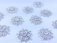 MT1-25mm Stick On Metal Diamante SNOWFLAKE Wedding Invitation Crystal Topper