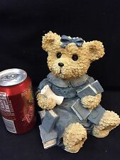 Bear Dressed In Denium Holding Books & A Diploma -Resin-So Adorable Vguc!