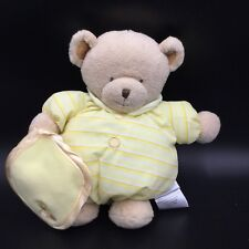 "Carters Yellow Tan Teddy Bear Blanket Plush Soft Toy Stuffed 10""  Striped"