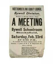 Original 1901 old letterpress Poster for meeting Bywell, stocksfield