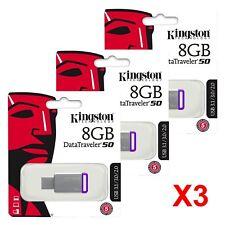 3x Kingston 8GB 8 GB DataTraveler DT50 USB 3.1 High Speed Flash Drive Stick