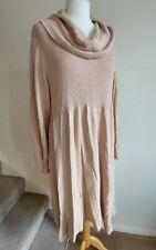 M&S Size 22 Angora Wool Mix Jumper Dress, Cowel Neck Beige Dress