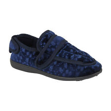 GBS Womens Ladies Floral Extra Wide EE Fit Warm Touch Fasten House Slippers Blue