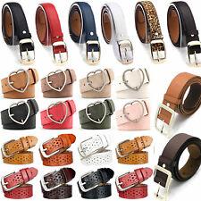 Ladies Women PU Leather Solid Belt Classic Buckle Waistband Dress Pants Strap US