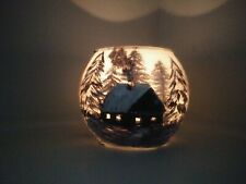 One Candles Holders Glass gift Hand Painted house in winter forest Tea Light