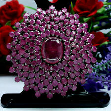 NATURAL 13X16mm RED RUBY WITH NATURAL HEATED PINK RUBY BROOCH/PENDANT 925 SILVER