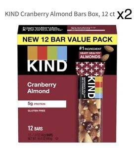 2 Pack of 12 KIND Bars, Cranberry Almond with Macadamia Nuts, EXP 10/2021