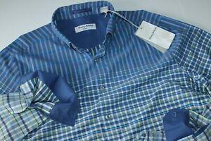 Tommy Bahama Shirt Vista Commuter Plaid Throne Blue Islandzone LS New Medium M