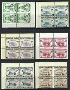 B&D: 1959 Honduras Scott C289-C300, CO98-CO109 Lincoln corner blocks/4 MNH