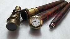 Antique Brass Clock Wooden Walking Stick~Transit Telescope Handle Walking Cane