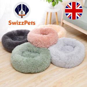Donut Dog Bed Pet Cat Calming Comfy Shag Fluffy Warm Bed Nest Mattress Donut Pad